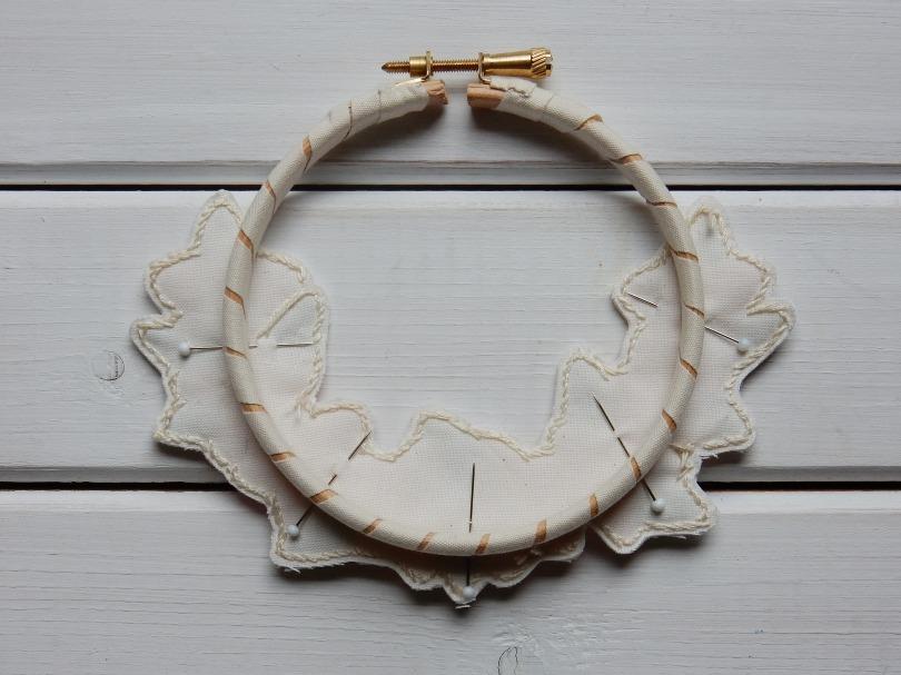 Blossom wreath panel pinned to hoop DSCN6118