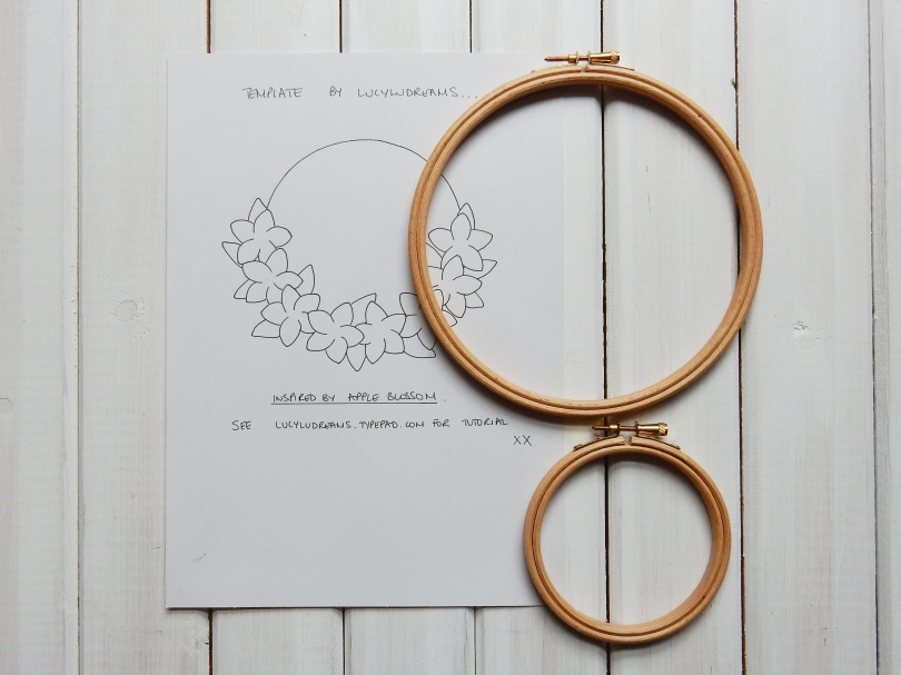 Blossom wreath template and hoops DSCN5685