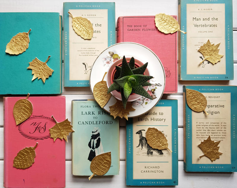 Gold leaves garland leaves on books 1