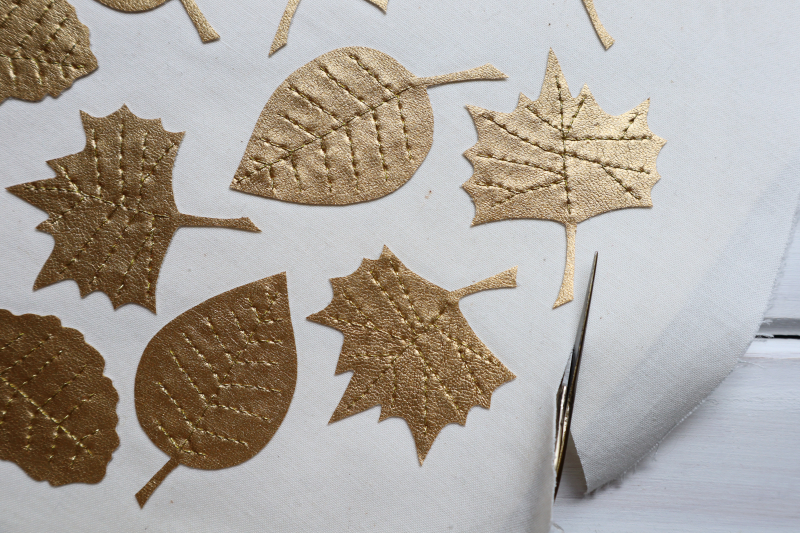 Gold leaves garland cutting leaves out