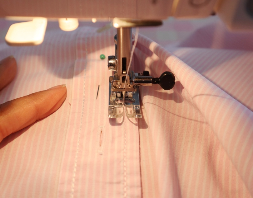 Peg bag machine sew placket